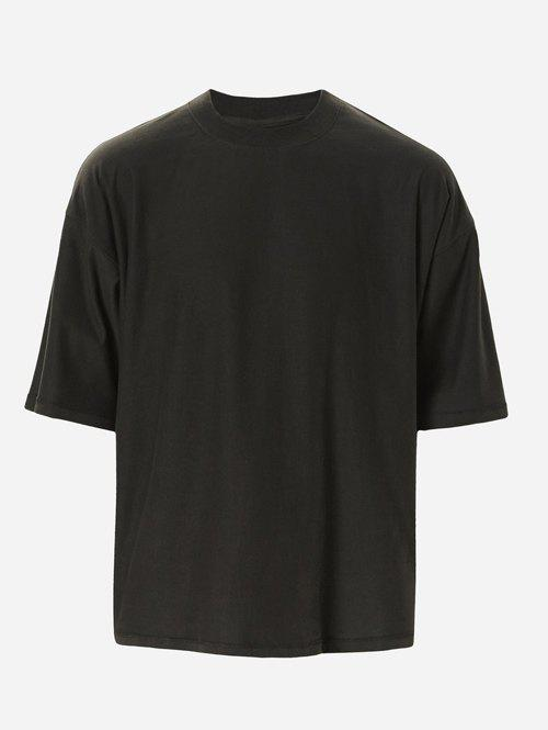 Men's Solid Color Loose Half Sleeves T-Shirt - BLACK L