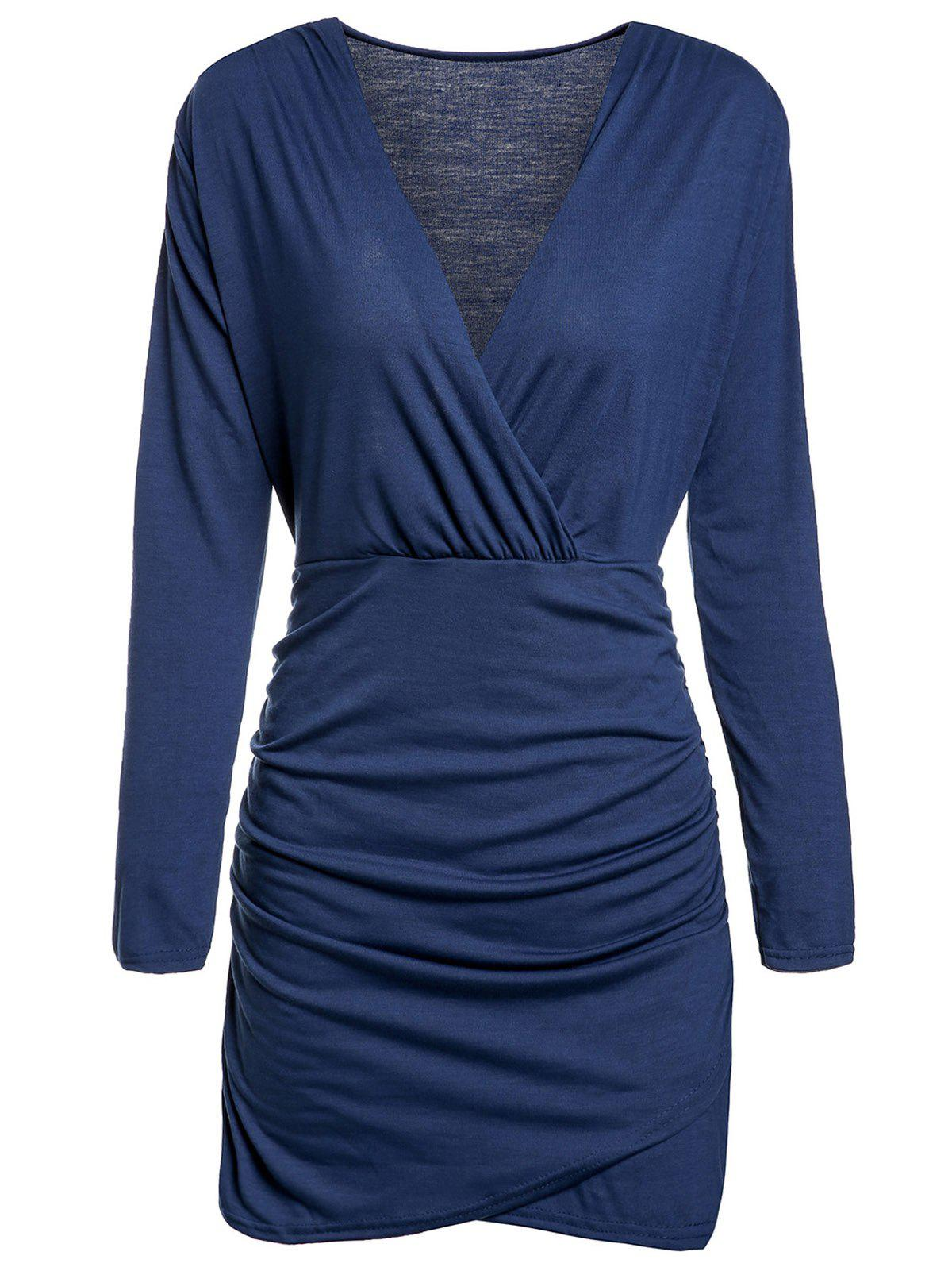 Alluring Plunging Neck Long Sleeve Ruffled Solid Color Women's Dress - BLUE L