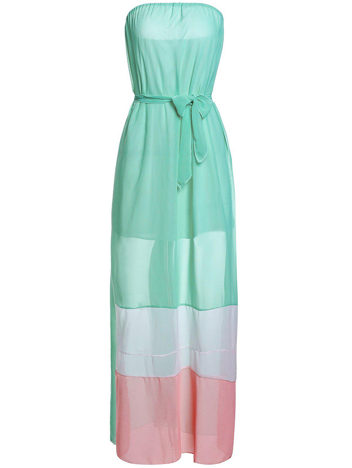 Fashionable Sleeveless Strapless Striped Color Block Chiffon Women's Maxi Dress - GREEN XL