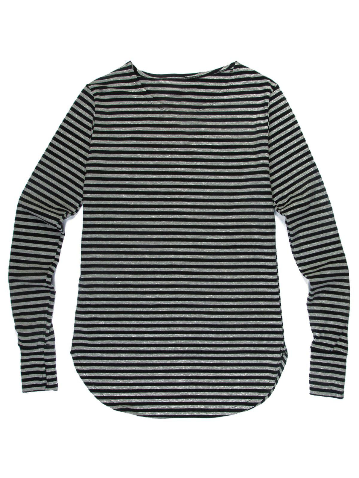 Men's Fashion Loose Fit Striped Long Sleeves T-Shirt