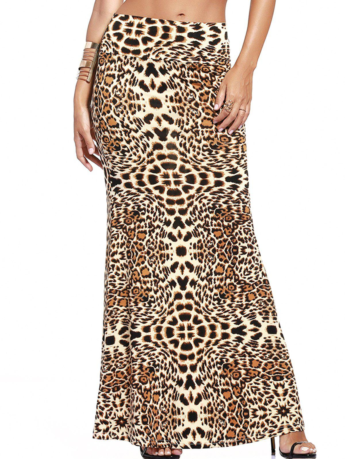 Alluring Leopard Print High-Waist Maxi Skirt For Women - LEOPARD 3XL