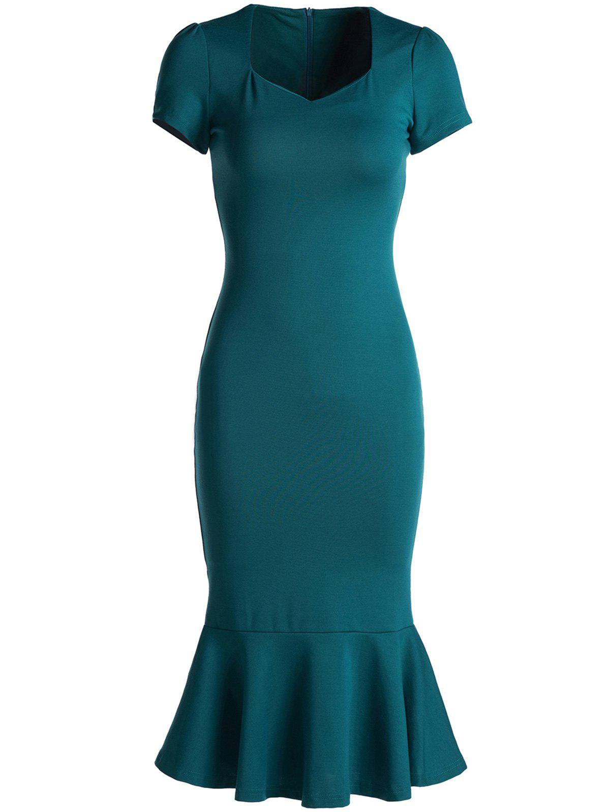 Elegant Green Sweetheart Neck Bodycon Fishtail Dress For Women ноутбук dell inspiron 3567 3567 7855 3567 7855