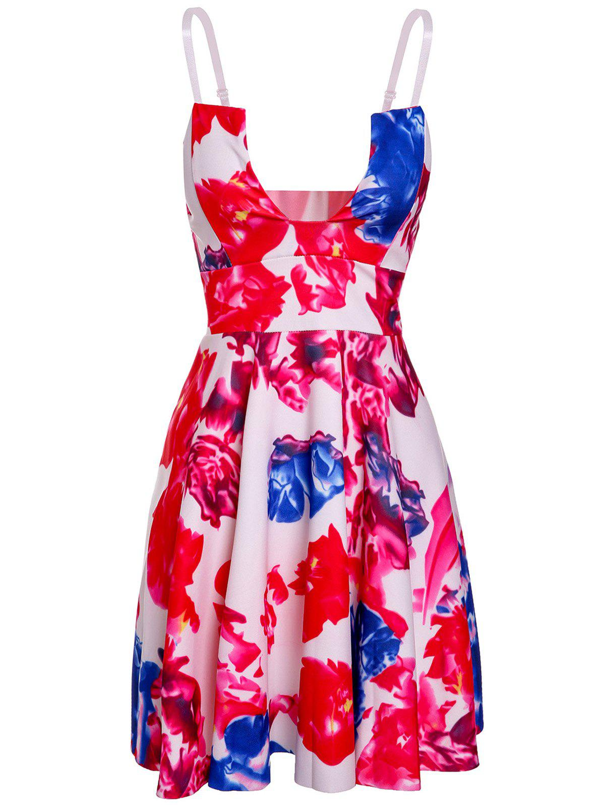 Trendy Floral Print Open Back Spaghetti Strap Women's Dress - COLORMIX S