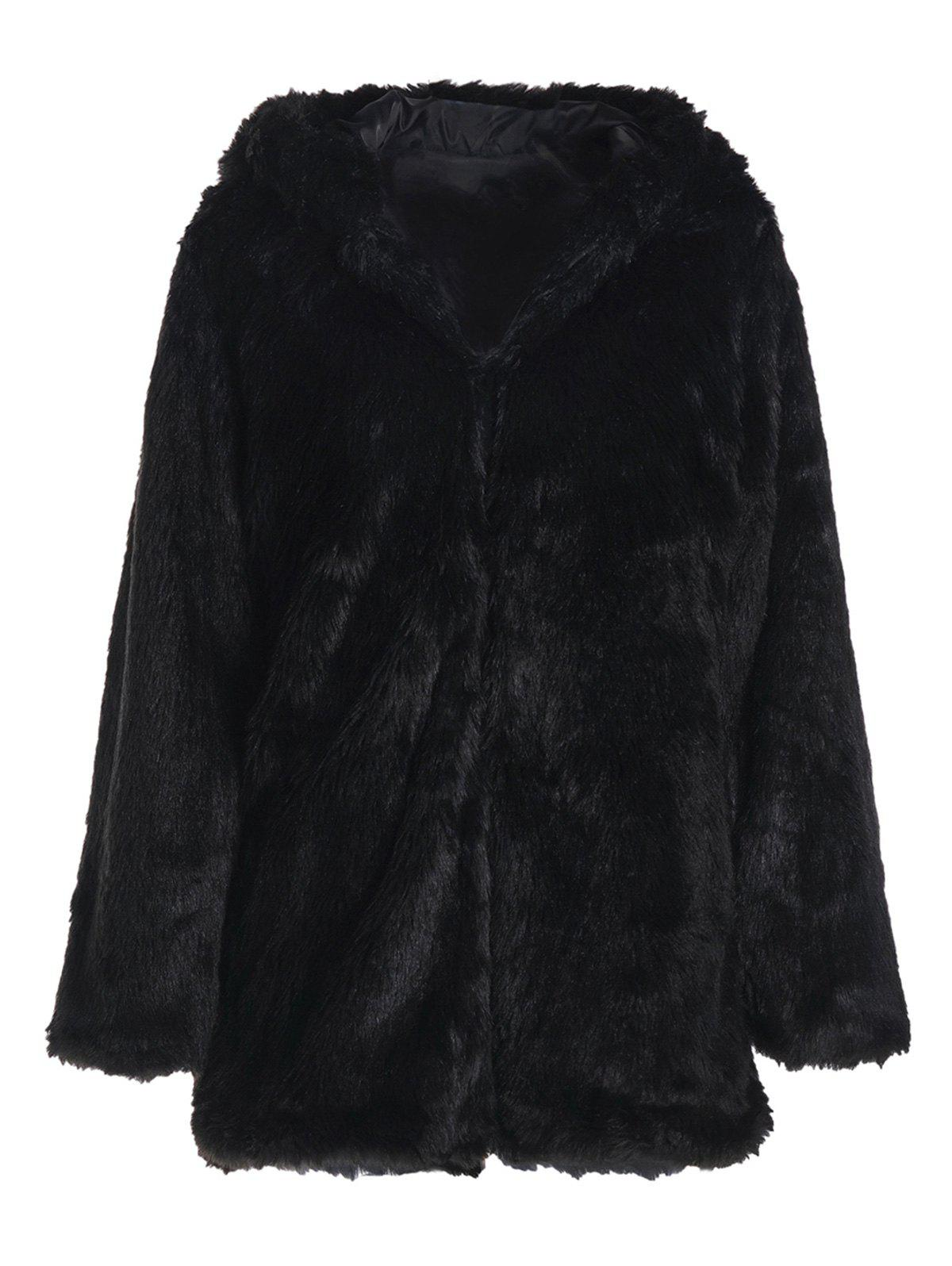 Noble Long Sleeve Hooded Faux Fur Women's Black Coat - BLACK 2XL