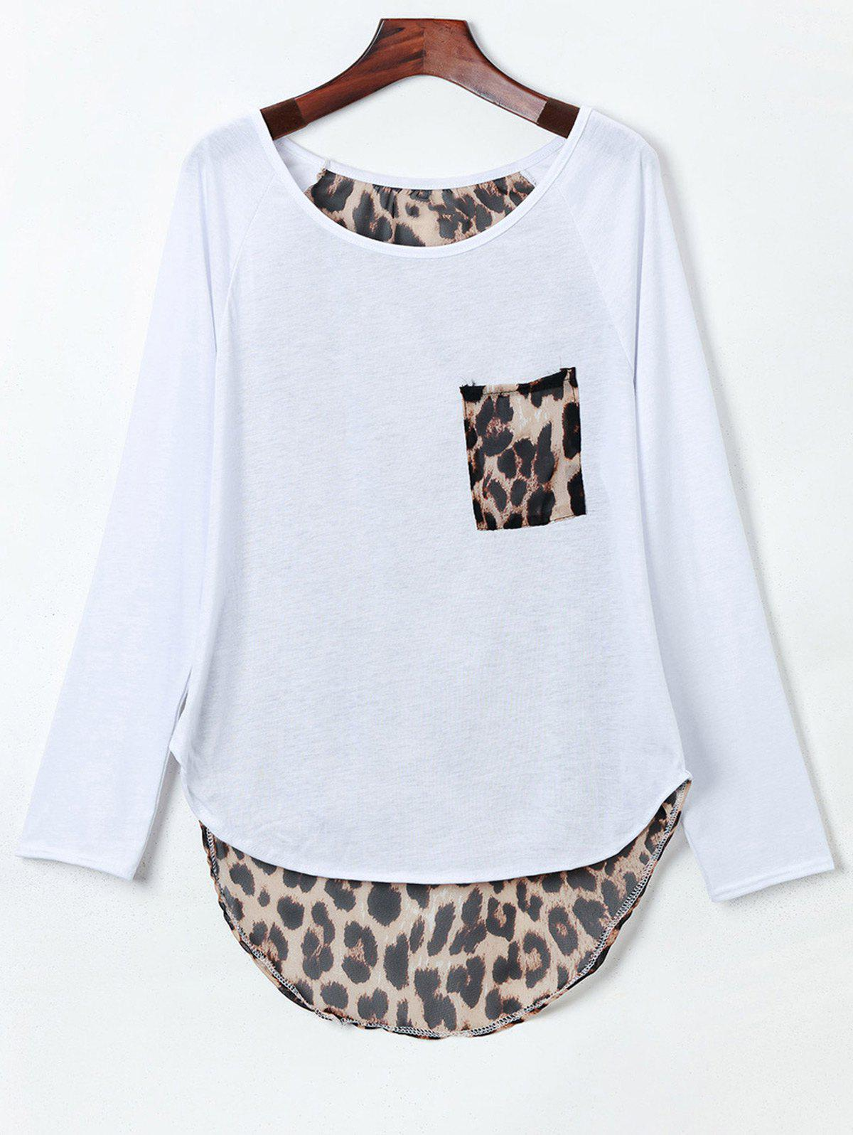 Stylish Jewel Neck Long Sleeve Slit Leopard Spliced Women's T-Shirt - WHITE 2XL