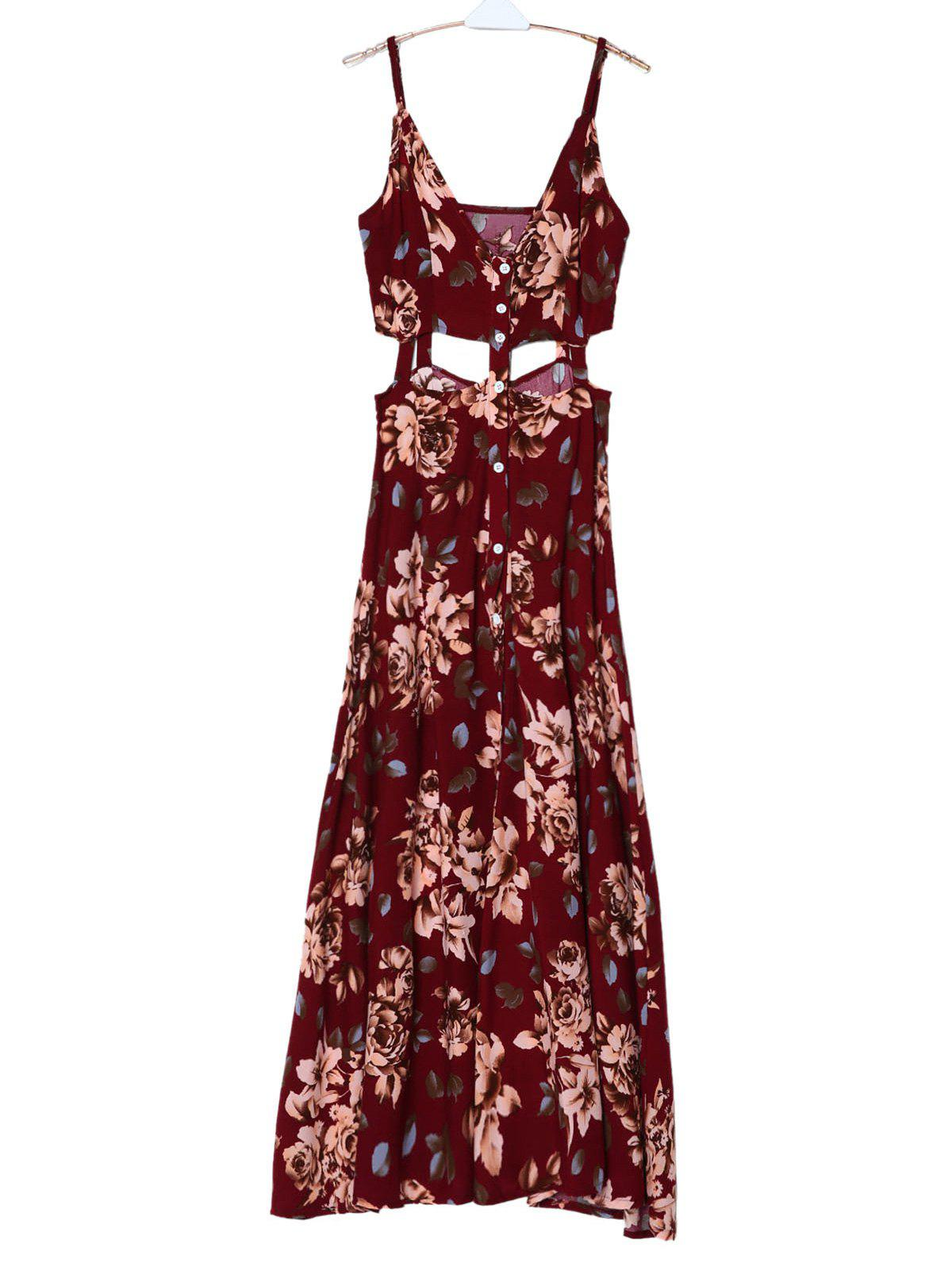 Bohemian Spaghetti Strap Sleeveless Floral Print Hollow Out High Slit Women's Dress - DEEP RED M