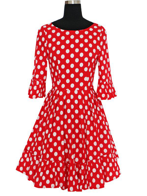 Women's Graceful Flare Sleeve Polka Dot Pleated Dress - RED 2XL