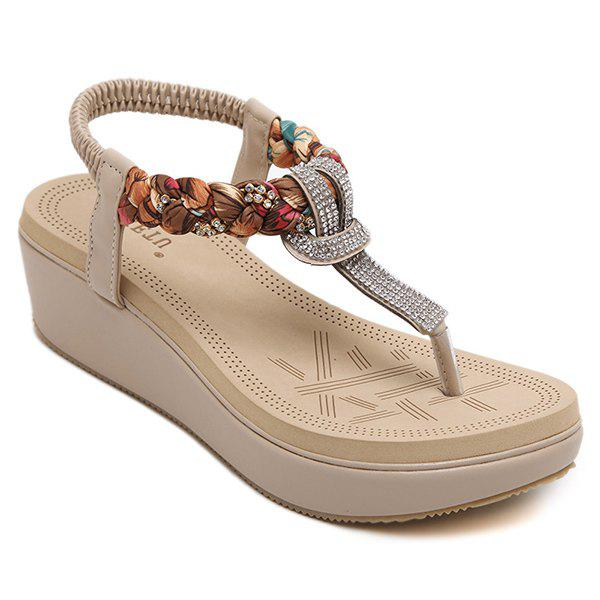 Casual Rhinestones and Platform Design Women's Sandals - APRICOT 40