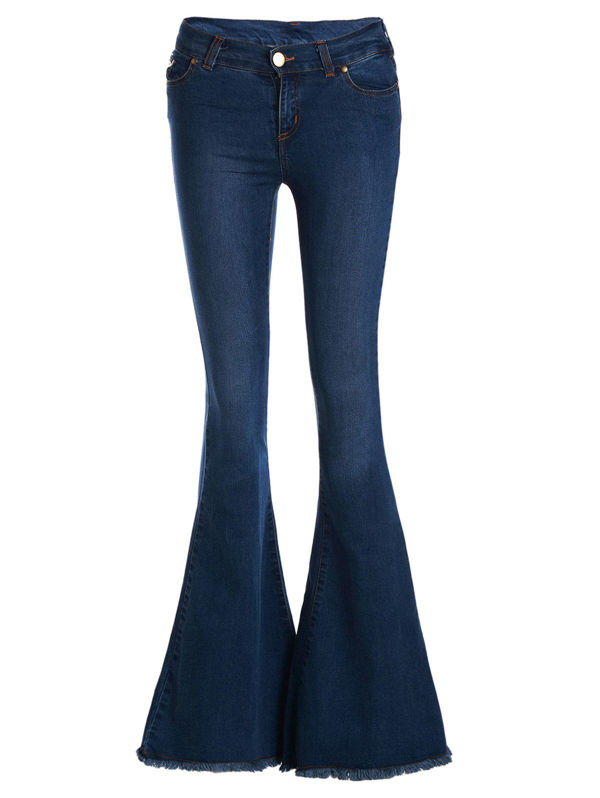 Vintage Low-Waisted Loose-Fitting Women's Bell Bottom Jeans, DEEP ...