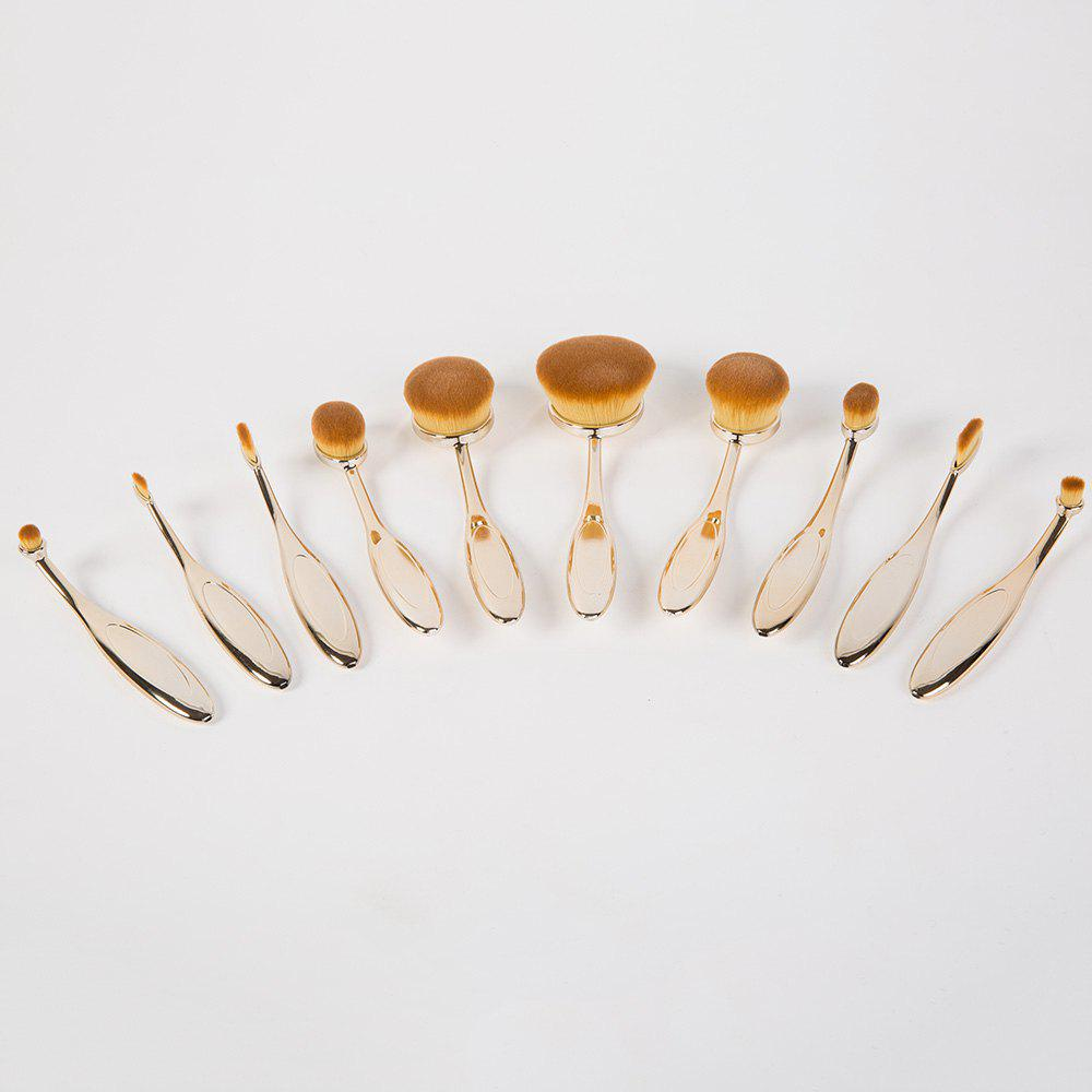 Creative 10 Pcs Multifunction ToothBrush Shape Plating Handle Nylon Face Eye Lip Makeup Brushes Set - GOLDEN