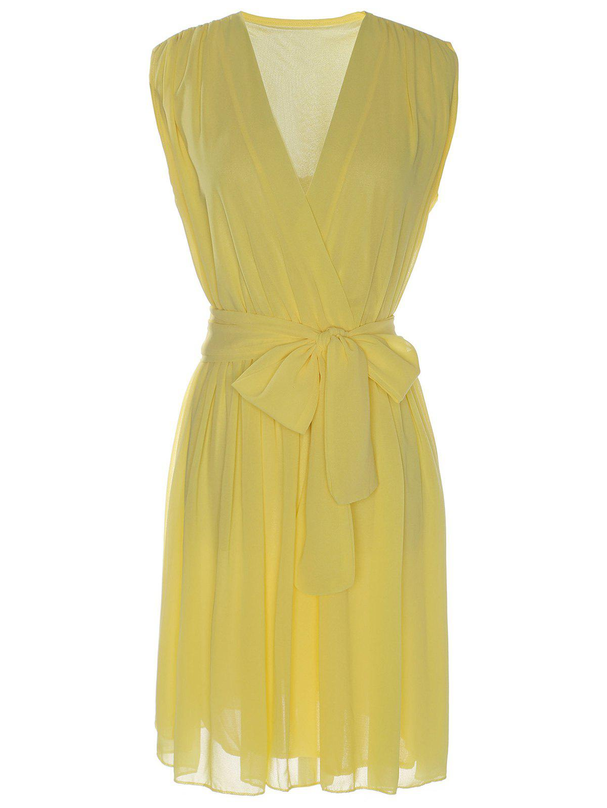 Sexy Sleeveless V-Neck Bowknot Embellished Women's Chiffon Dress - YELLOW XL