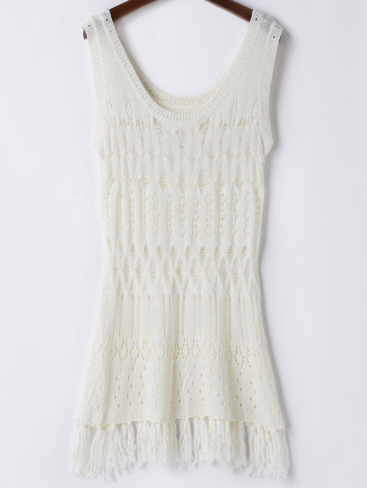 Trendy Solid Color Hollow Out Crochet Womens Cover UpWomen<br><br><br>Size: ONE SIZE(FIT SIZE XS TO M)<br>Color: WHITE