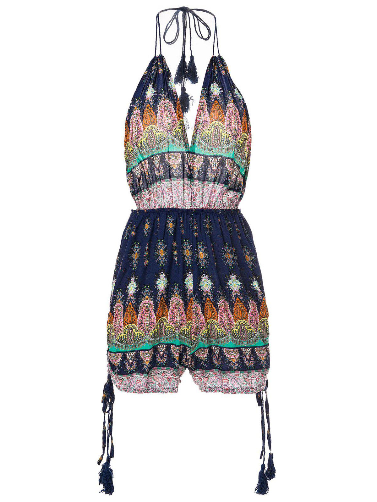 Casual Halter Sleeveless Printed Low Cut Backless Womens RomperWomen<br><br><br>Size: S<br>Color: PURPLISH BLUE