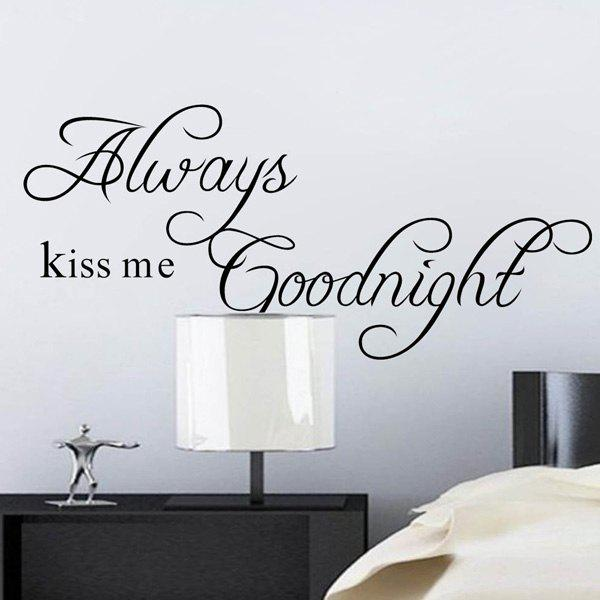 Long Thin Version Black Words Always Kiss Me Removeable Wall Stick - BLACK