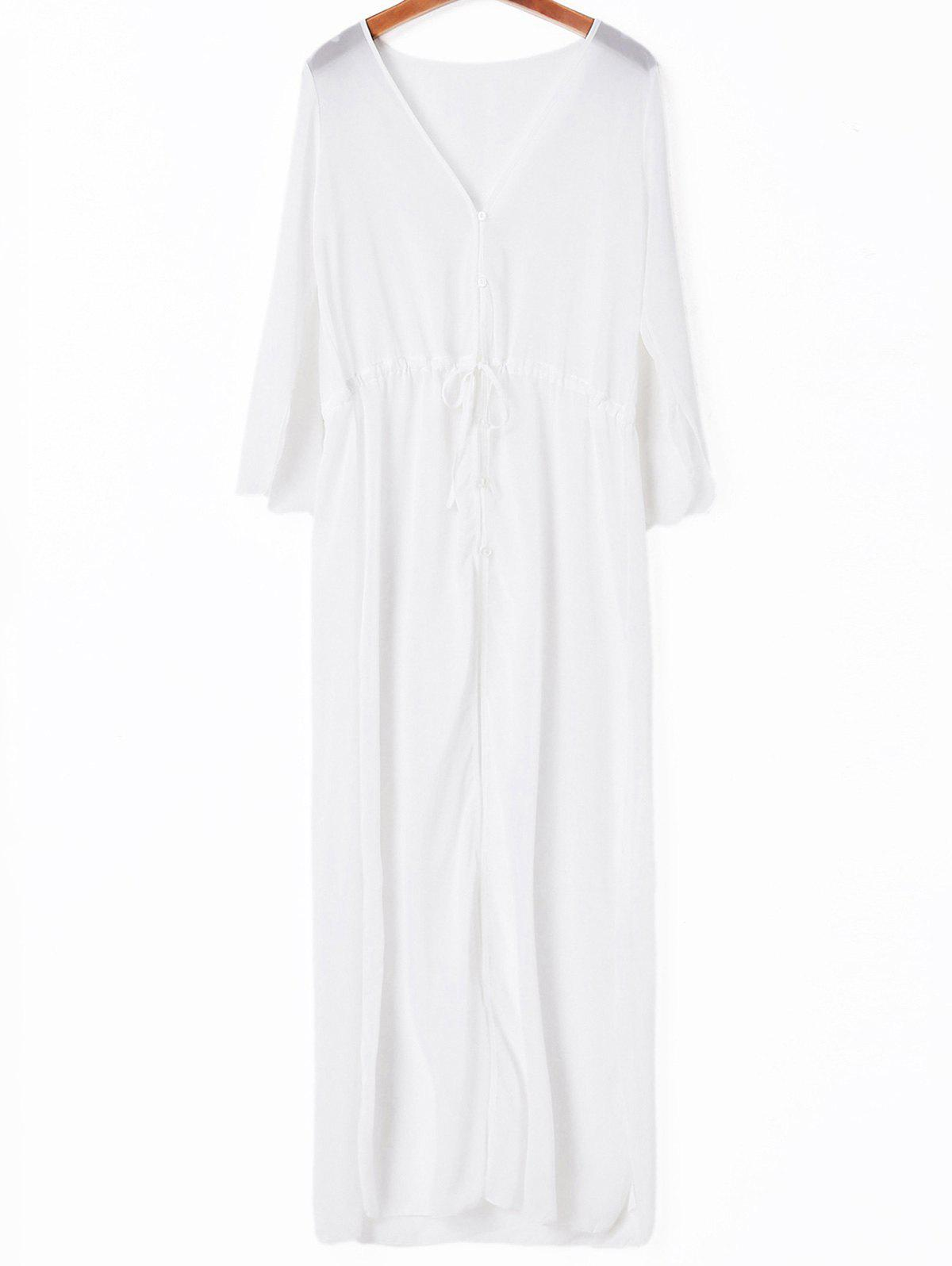 Stylish Solid Color Drawstring Women's Cover-Up - WHITE ONE SIZE(FIT SIZE XS TO M)