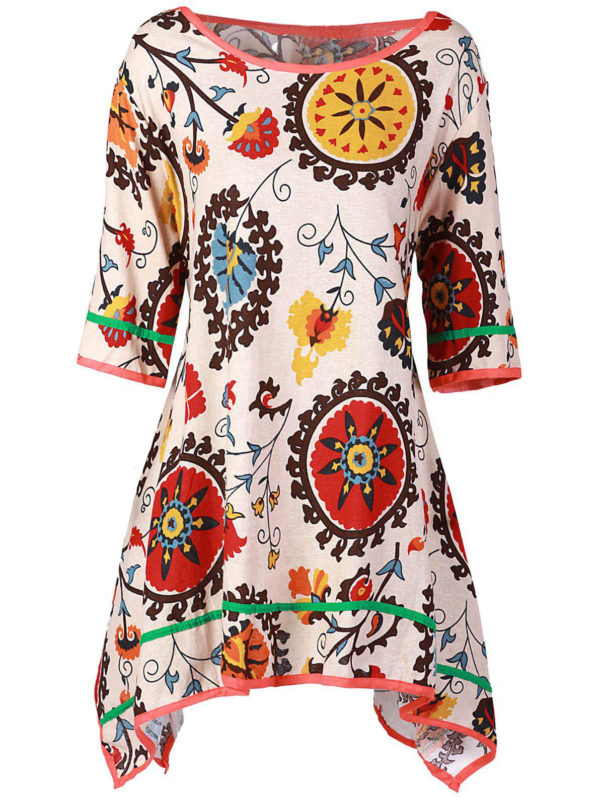 Casual Scoop Collar 3/4 Sleeve Asymmetrical Printed Women's Dress - COLORMIX ONE SIZE(FIT SIZE XS TO M)