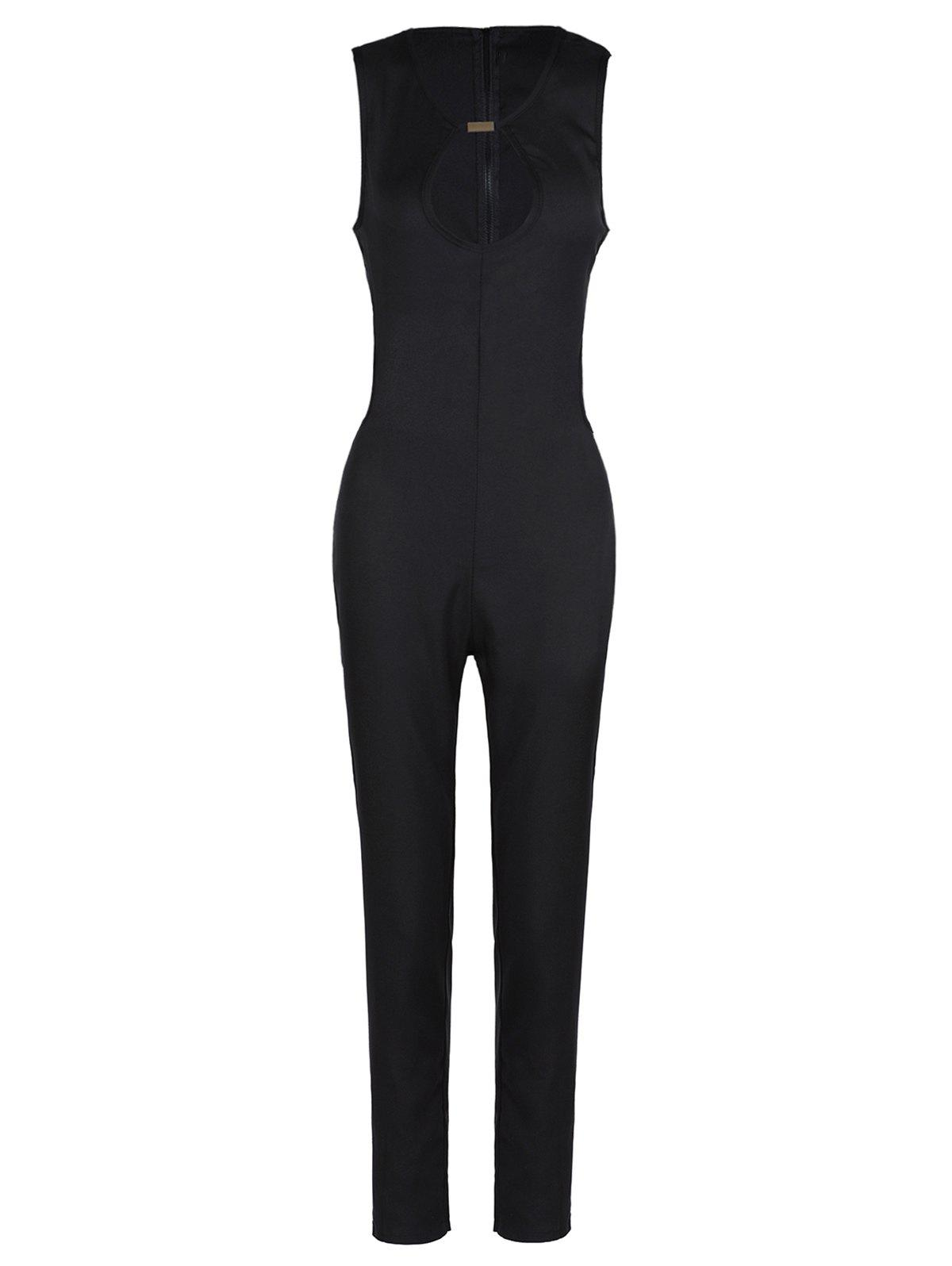 Sexy Sleeveless Round Neck Hollow Out Women's Jumpsuit - BLACK 2XL