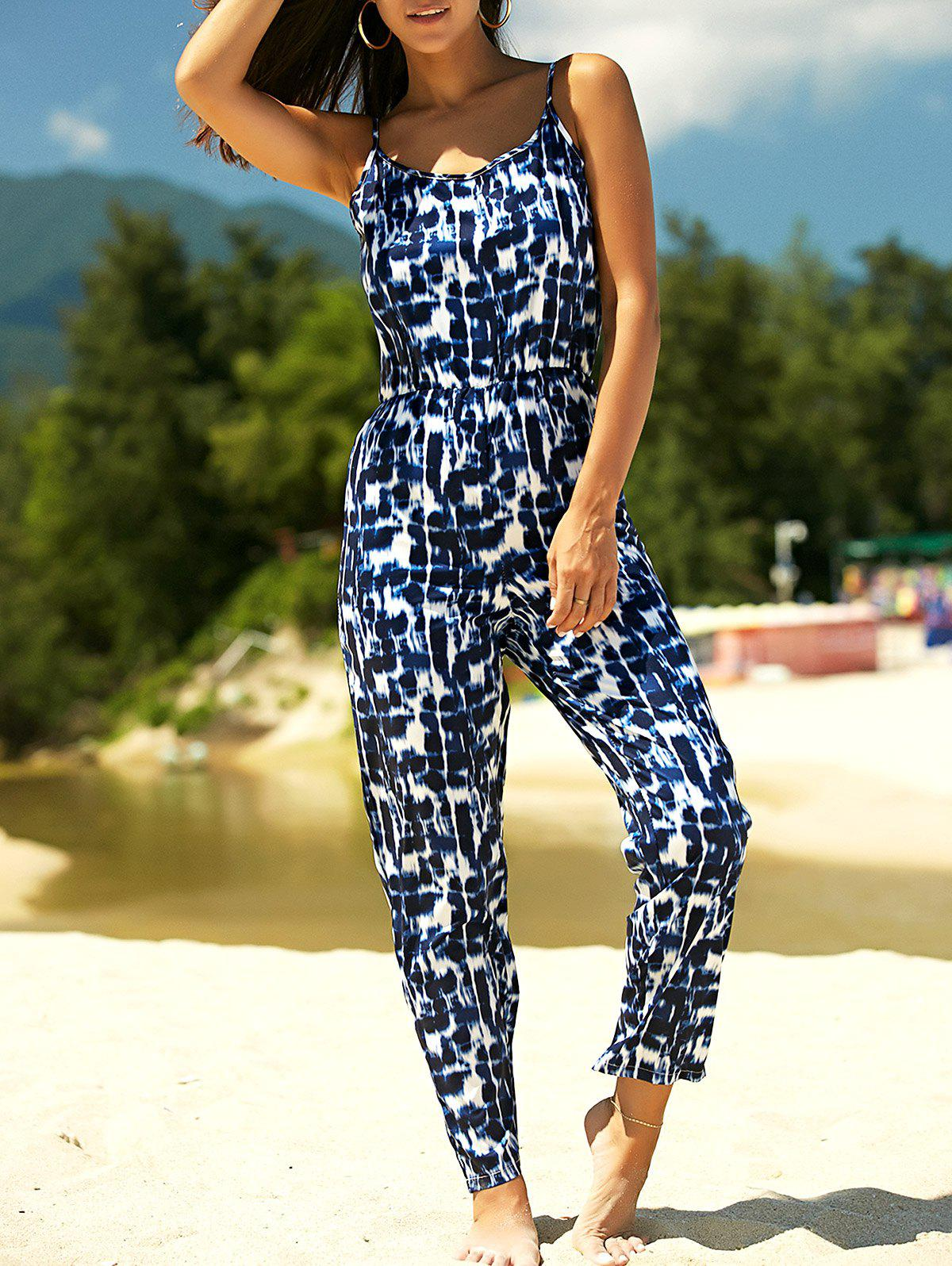 Stylish Women's Strappy Tie Dyed Jumpsuit - BLUE XL