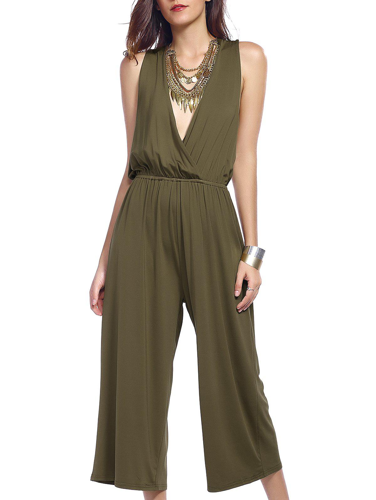 Surplice Criss Cross Stylish Wide Leg Women's Jumpsuit - ARMY GREEN 2XL