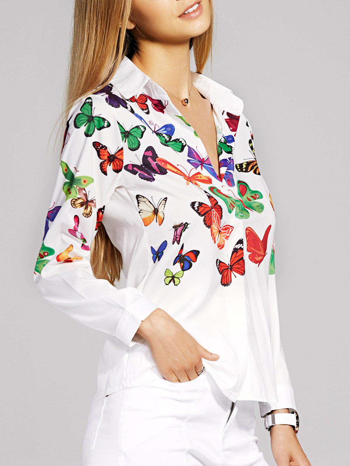 Women's Graceful Long Sleeve Butterfly Pattern Shirt - WHITE M