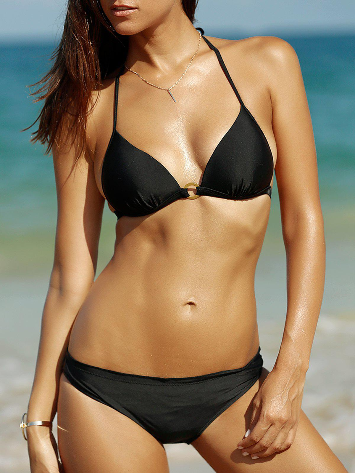 Women's Graceful Halter Pure Color Bikini - BLACK L