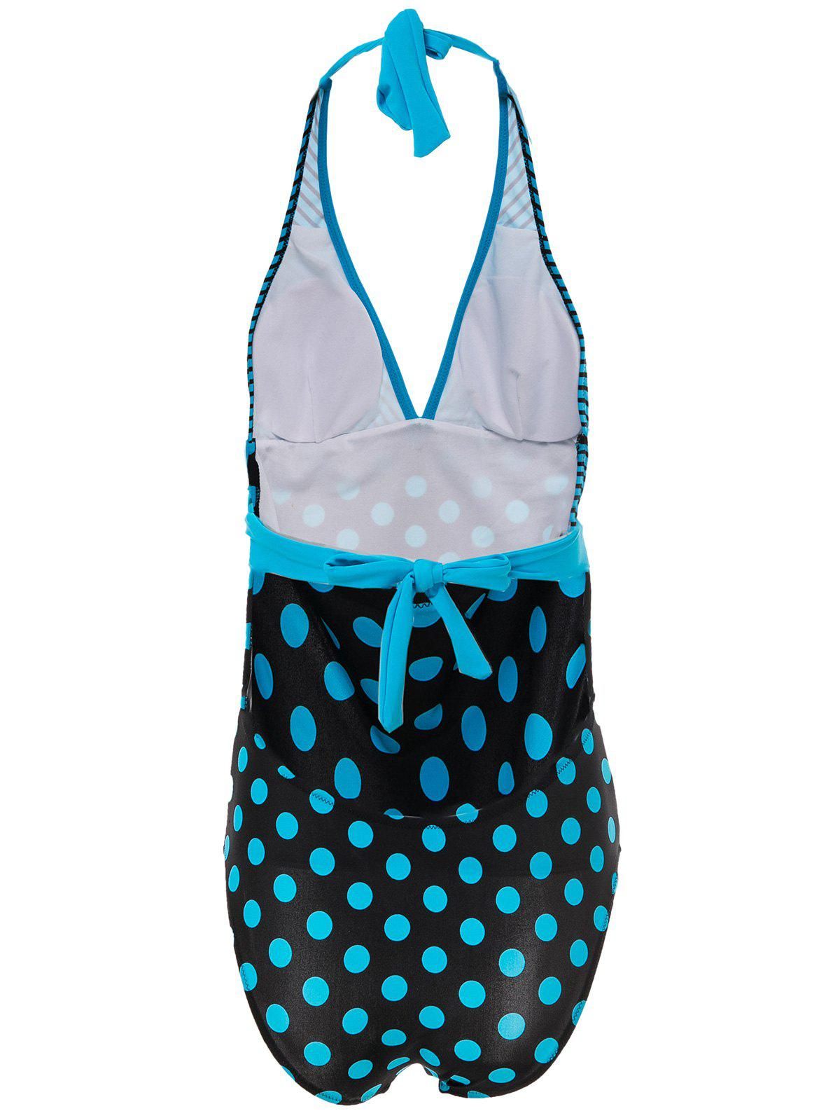 Sexy Halter Polka Dot Striped One-Piece Maillots de bain pour femmes - Pers 3XL
