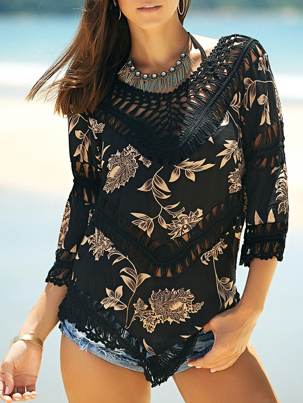 Stylish Women's V-Neck Printed Crochet Top - BLACK ONE SIZE(FIT SIZE XS TO M)