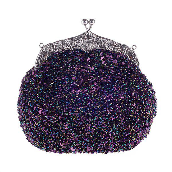 Gorgeous Sequins and Kiss Lock Design Women's Evening Bag - PURPLE