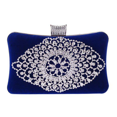 Gorgeous Rhinestone and Flock Design Women's Evening Bag - BLUE