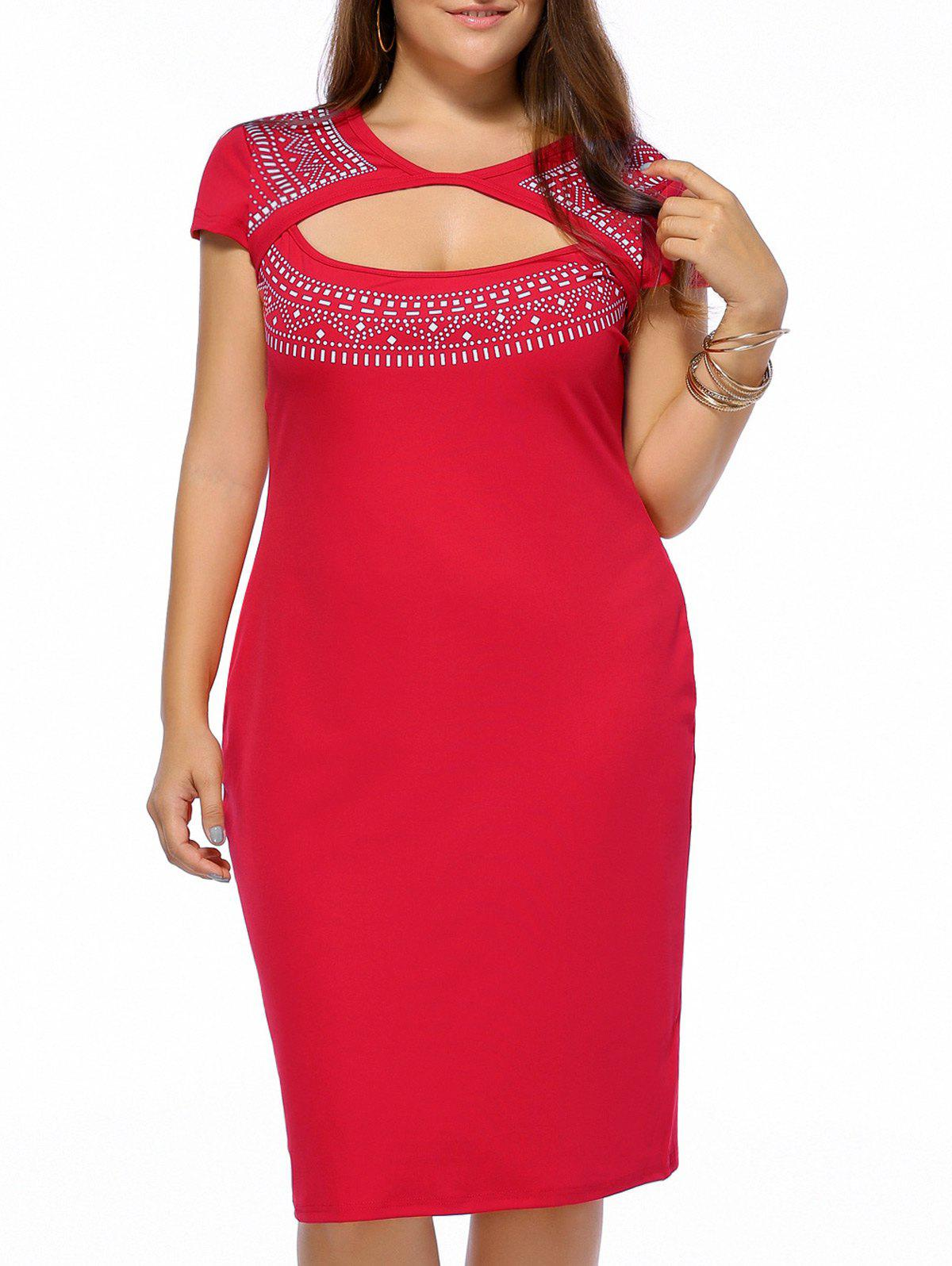 Plus Size Printed Sheath Key Hole Dress - 5XL RED