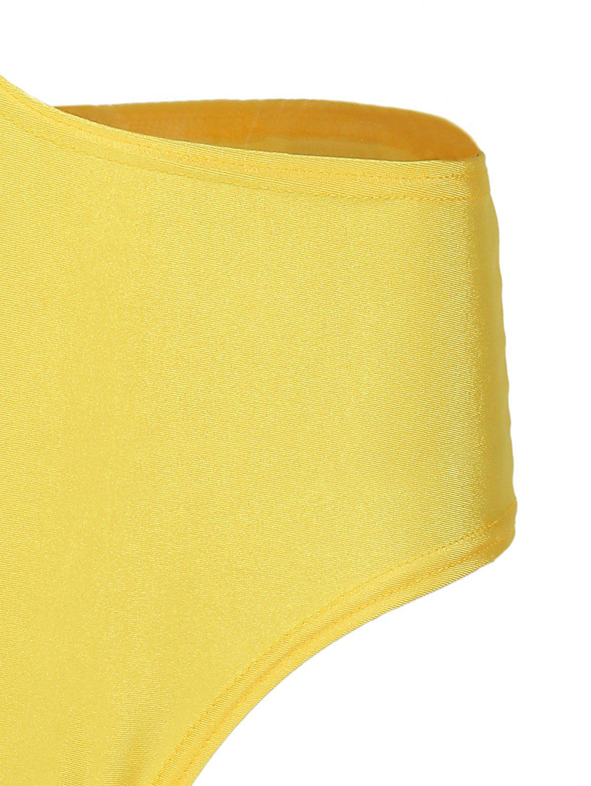 Casual One-Shoulder Sleeveless One-Piece Hollow Out Women's Swimwear - YELLOW L