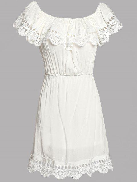 Stylish Women's Off The Shoulder Lace Splicing A-Line Dress - WHITE M