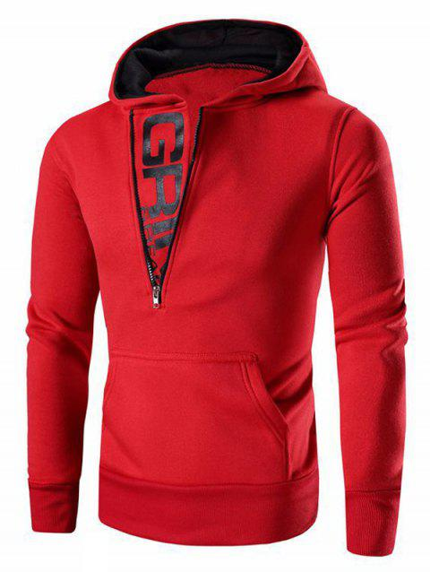 Men's Letter Printed Zipper Design Long Sleeve Hoodie - RED XL