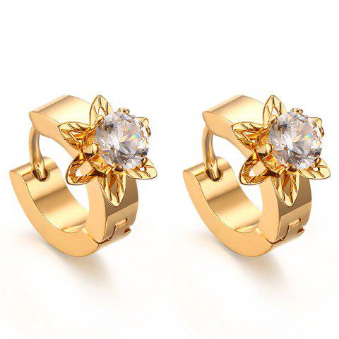 Pair of Charming Rhinestone Blossom Hoop Earrings For Women - GOLDEN