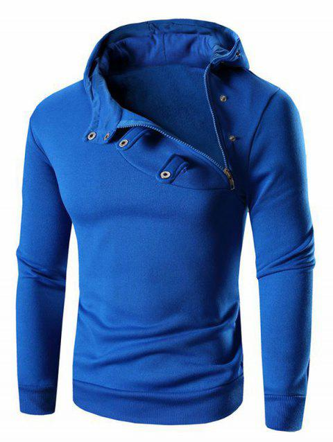 Men's Button and Zipper Design Long Sleeve Hoodie - BLUE L