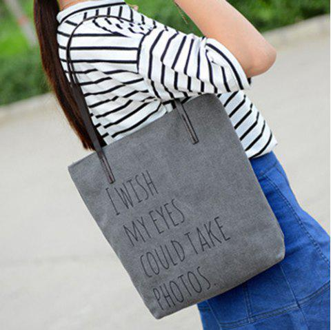 Concise Letters and Canvas Design Women's Shoulder Bag - GRAY
