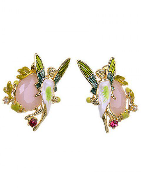 Chic Faux Gem Butterfly Earrings - COLORMIX