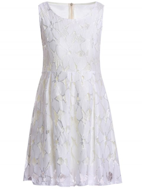 Sleeveless Ladylike Style Round Collar Jacquard Solid Color Lace Pleated Women's Dress