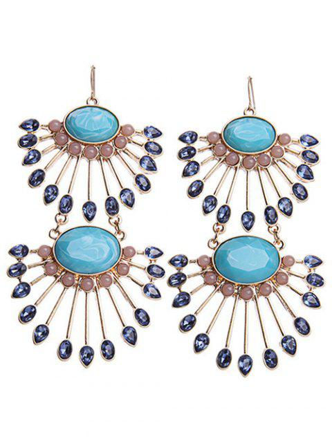 Statement Faux Gem Fan Earrings - COLORMIX