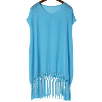 Fashionable V-Neck Solid Color Tassel Spliced Short Sleeve Women's Cover-Up