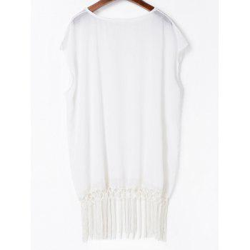 Fashionable V-Neck Solid Color Tassel Spliced Short Sleeve Women's Cover-Up - WHITE ONE SIZE(FIT SIZE XS TO M)