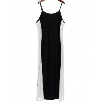 Sexy Spaghetti Strap Slimming Color Block Women's Dress