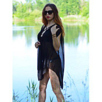 Sexy V-Neck Sleeveless Solid Color See-Through Women's Cover-Up - BLACK M