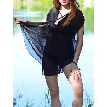 Sexy V-Neck Sleeveless Solid Color See-Through Women's Cover-Up