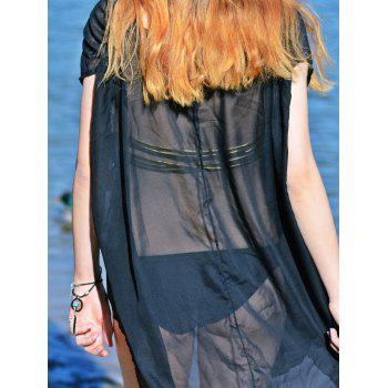 Sexy V-Neck Sleeveless Solid Color See-Through Women's Cover-Up - BLACK XL