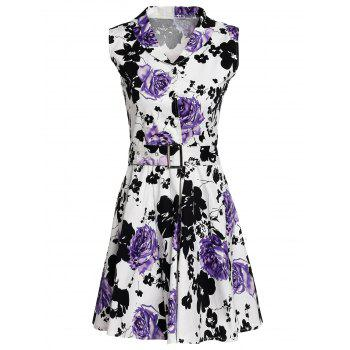 Retro Sleeveless Turn-Down Collar Floral Print Women's Dress