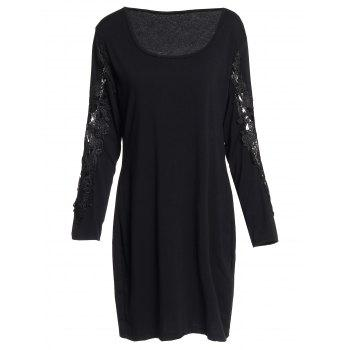 Sexy Scoop Neck Long Sleeve Plus Size Hollow Out Women's Dress