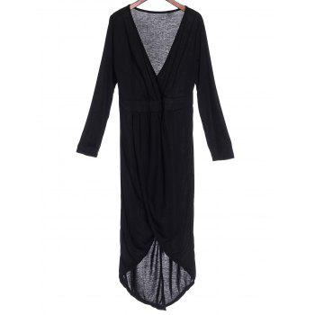 Sexy Plunging Neck Solid Color High-Low Hem Plus Size Long Sleeve Women's Dress