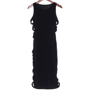 Alluring Scoop Neck Sleeveless Pure Color Cut Out Women's Dress