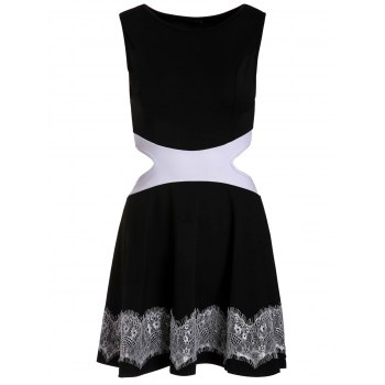 Charming Sleeveless Waist Hollow Out Lace Spliced Mini Dress For Women - BLACK M